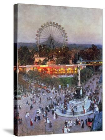 The Admiral Tegetthoff Monument at the Praterstern with the Ferris Wheel, Vienna-Heinrich Tomec-Stretched Canvas Print