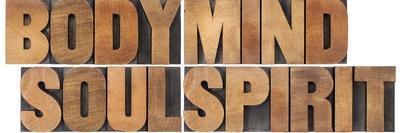 Body, Mind, Soul And Spirit - Vintage Wood Letterpress Printing Block Collage-PixelsAway-Stretched Canvas Print