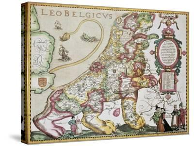 Leo Belgicus: Belgium And Netherlands Old Map In The Form Of A Lion-marzolino-Stretched Canvas Print