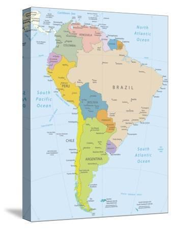 South America-Highly Detailed Map-ekler-Stretched Canvas Print