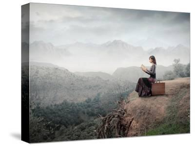 Woman Sitting On A Suitcase And Reading A Book With Landscape On The Background-olly2-Stretched Canvas Print