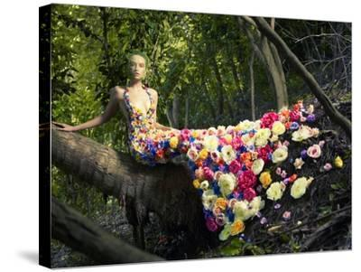 Blooming Gorgeous Lady In A Dress Of Flowers In The Rainforest-George Mayer-Stretched Canvas Print