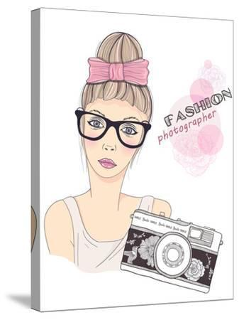 Fashion Girl Photographer-cherry blossom girl-Stretched Canvas Print