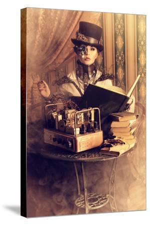 Portrait Of A Beautiful Steampunk Woman Over Vintage Background-prometeus-Stretched Canvas Print