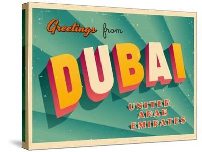Vintage Touristic Greeting Card - Dubai, United Arab Emirates-Real Callahan-Stretched Canvas Print