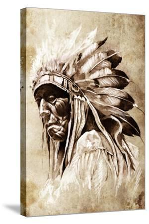 Sketch Of Tattoo Art, Indian Head, Chief, Vintage Style-outsiderzone-Stretched Canvas Print