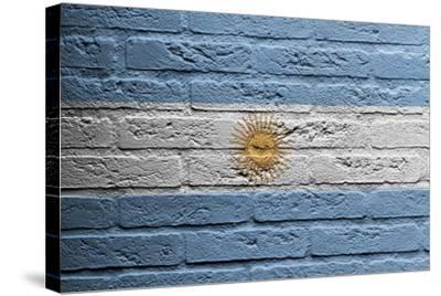 Brick Wall With A Painting Of A Flag, Argentina-Micha Klootwijk-Stretched Canvas Print