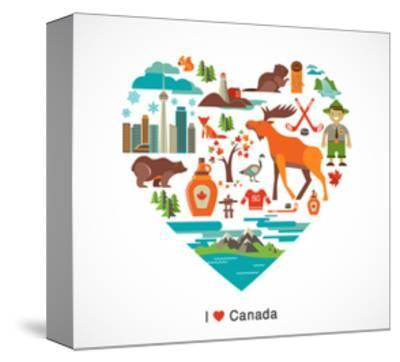 Canada Love - Heart With Many Icons And Illustrations-Marish-Stretched Canvas Print
