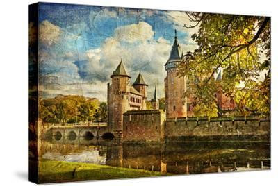 Autumn Castle - Artwork In Painting Style-Maugli-l-Stretched Canvas Print