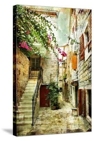 Courtyard Of Old Croatia - Picture In Painting Style-Maugli-l-Stretched Canvas Print