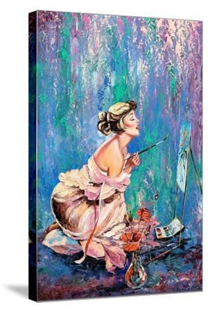 The Beautiful Girl Drawing A Picture-balaikin2009-Stretched Canvas Print