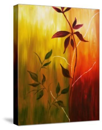 Oil Painting Of Fall Leaves-Acik-Stretched Canvas Print
