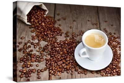 Coffee Cup With Beans-Valengilda-Stretched Canvas Print