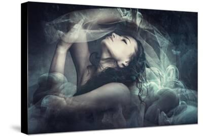 Fairy Like Fantasy Woman With Veil-coka-Stretched Canvas Print