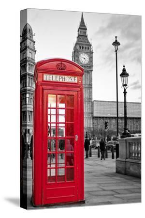 A Traditional Red Phone Booth In London With The Big Ben In A Black And White Background-Kamira-Stretched Canvas Print