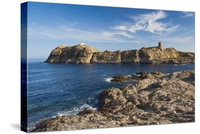 Lighthouse and Tower, Ile De La Pietra, Ile Rousse, Corsica, France-Walter Bibikow-Stretched Canvas Print