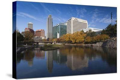 Gene Leahy Mall Skyline, Omaha, Nebraska, USA-Walter Bibikow-Stretched Canvas Print