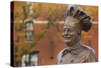 Statue of Famed Chef Boy-Ar-Dee, Omaha, Nebraska, USA-Walter Bibikow-Stretched Canvas Print