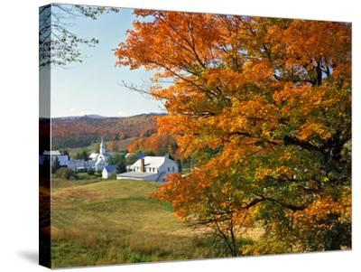 Fall Colors Framing Church and Town, East Corinth, Vermont, USA-Jaynes Gallery-Stretched Canvas Print