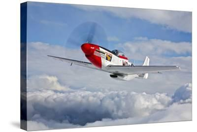 A P-51D Mustang in Flight Near Hollister, California--Stretched Canvas Print