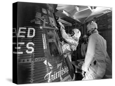 Digitally Restored Photo of Astronaut John Glenn Entering the Friendship 7 Spacecraft--Stretched Canvas Print