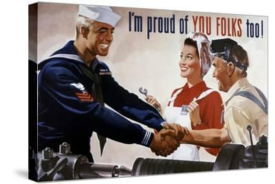 World War II Poster of a Sailor Shaking Hands with Factory Workers--Stretched Canvas Print