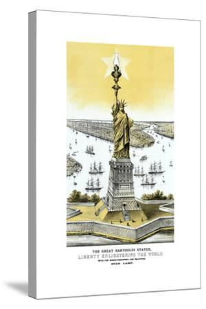 Vintage Color Architecture Print Featuring the Statue of Liberty--Stretched Canvas Print