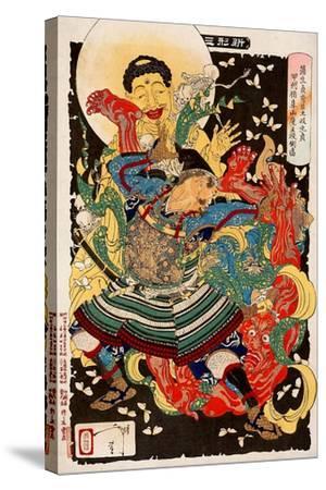 Toki Motosada, Hurling a Demon King, Thirty-Six Transformations-Yoshitoshi Tsukioka-Stretched Canvas Print