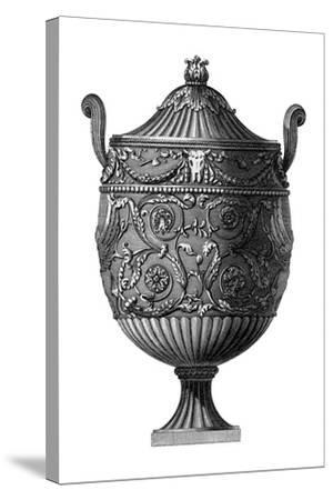 Black and White Urn III--Stretched Canvas Print