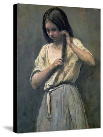 Young Girl at Her Toilet-Jean-Baptiste-Camille Corot-Stretched Canvas Print