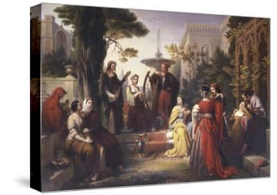 First Day of the Decameron (Author Boccaccio Is on Left in Red Cape)-Francesco Podesti-Stretched Canvas Print