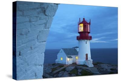 The Idyllic Lindesnes Fyr Lighthouse Illuminated at Dusk-Doug Pearson-Stretched Canvas Print