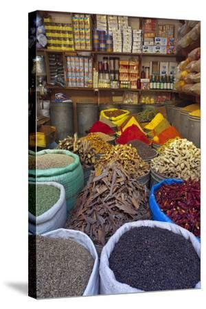 Spice Store, Medina, Fes, Morocco, North Africa, Africa-Doug Pearson-Stretched Canvas Print