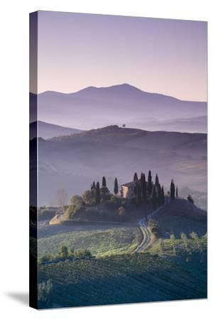 Iconic Tuscan Farmhouse, Val D' Orcia, UNESCO World Heritage Site, Tuscany, Italy, Europe-Doug Pearson-Stretched Canvas Print