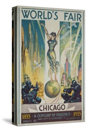1933 Chicago Centennial World's Fair Poster--Stretched Canvas Print