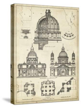 Vintage Architect's Plan II-Vision Studio-Stretched Canvas Print