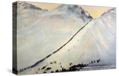 Gold Prospectors Crossing Chilkoot Pass--Stretched Canvas Print