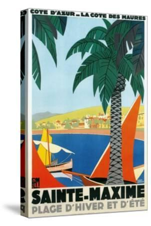 Sainte Maxime, Cote De Azure French Travel Poster--Stretched Canvas Print