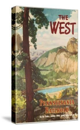 The West, Pennsylvania Railroad Go by Train Poster--Stretched Canvas Print