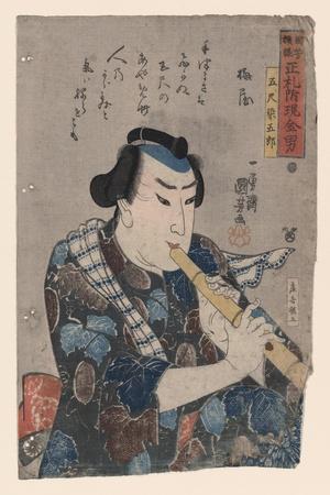 Goshaku Somegoro Playing Shakuhachi-Kuniyoshi Utagawa-Stretched Canvas Print