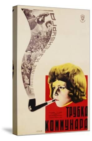 Russian Movie Poster Depicting a Child Smoking a Pipe--Stretched Canvas Print