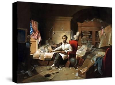 President Lincoln Writing the Proclamation of Freedom--Stretched Canvas Print