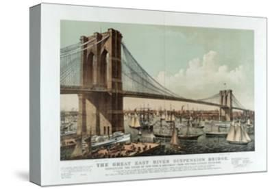 The Great East River Suspension Bridge-Currier & Ives-Stretched Canvas Print