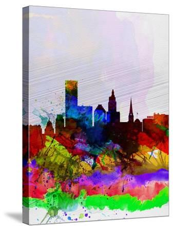 Providence Watercolor Skyline-NaxArt-Stretched Canvas Print
