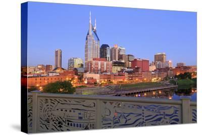 Nashville Skyline and Shelby Pedestrian Bridge-Richard Cummins-Stretched Canvas Print