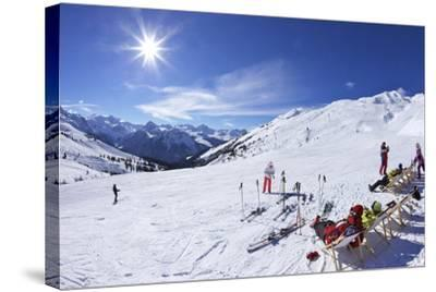 Skiers Relaxing at Cafe in Winter Sunshine, Verdons Sud, La Plagne, French Alps, France, Europe-Peter Barritt-Stretched Canvas Print