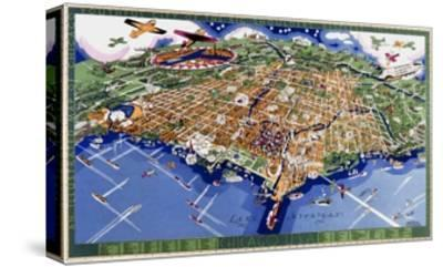 Chicago World's Fair Map--Stretched Canvas Print