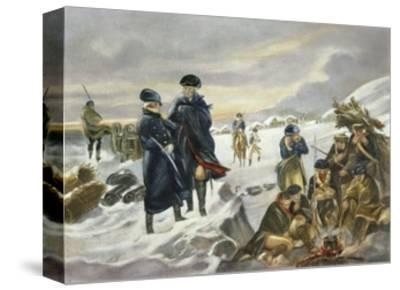 George Washington and Marquis Lafayette at Valley Forge after Alonzo Chappel--Stretched Canvas Print