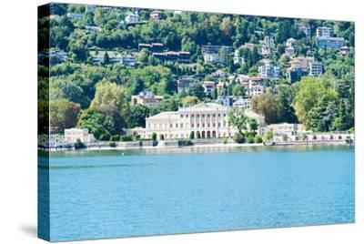Buildings on a Hill, Villa Olmo, Lake Como, Lombardy, Italy--Stretched Canvas Print