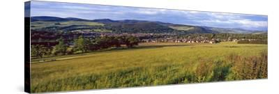 Fields with a Town in the Background, Peebles, Scottish Borders, Scotland--Stretched Canvas Print
